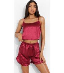 tall satijnen crop top met bandjes en pyjama shorts set, wine