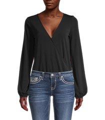 n:philanthropy women's surplice long-sleeve bodysuit - black - size xs