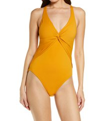 women's bleu by rod beattie twist & shout plunge one-piece swimsuit, size 6 - yellow