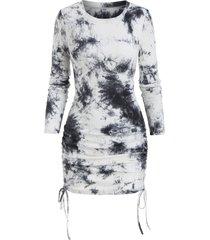 tie dye print ribbed cinched sheath dress