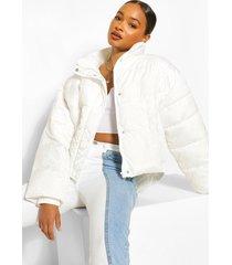 gewatteerde oversized jas met hoge hals, white