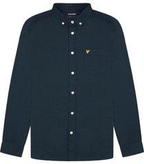 lyle and scott lw1302vtr lyle&scott regular fit light weight oxford shirt, z271 dark navy