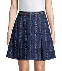 gemini jacquard denim mini a-line skirt