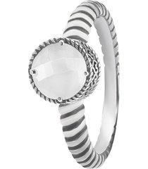 anello pietra in argento 925 rodiato per donna