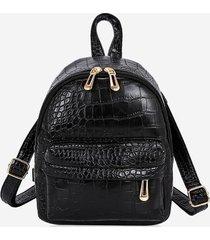 snakeskin embossed mini backpack