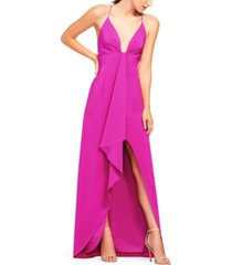 aidan by aidan mattox cascade-ruffle high-low gown