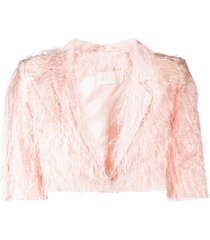 loulou frayed-effect cropped jacket - pink