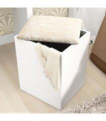 puff baú pu2050 branco/floral pérola - tecno mobili