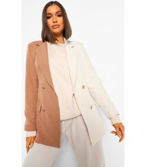 lange getailleerde colour block blazer, tan