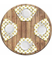 jogo americano love decor para mesa redonda wevans corações kit com 4 pçs