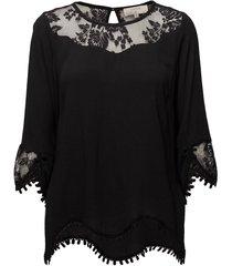 kalanie blouse blouse lange mouwen zwart cream