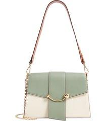 strathberry crescent tricolor leather shoulder bag - green