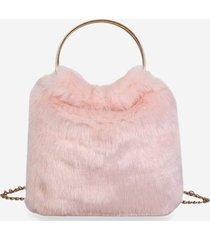 faux fur metal handle chain handbag