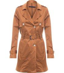 trench coat feminino de sarja - marrom