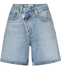 agolde wrap waist denim shorts - blue