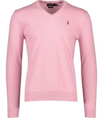 ralph lauren trui v-hals licht roze slim fit