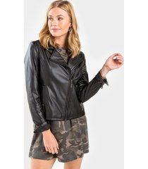valerie faux leather jacket - black