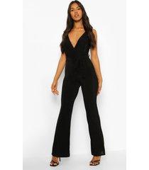 strakke wikkel jumpsuit met wijde pijpen en textuur, black