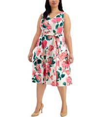 calvin klein plus size belted fit & flare dress
