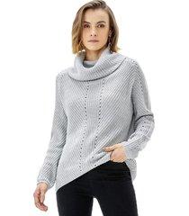 sweater cuello alto mujer gris melange corona