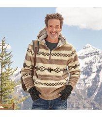 sundance catalog men's sherpa hoodie in saddle large