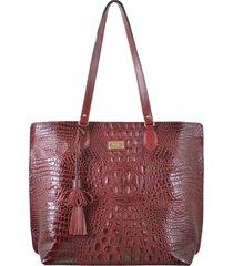 bolsa couro mariart shopping bag vermelha