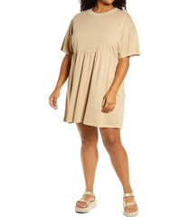 bp. babydoll organic cotton dress, size 2x in beige nougat at nordstrom