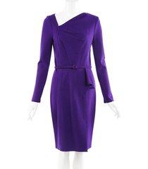 oscar de la renta purple wool asymmetric belted dress purple sz: s