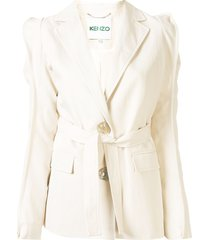 kenzo belted single-breasted blazer - white