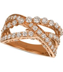 le vian strawberry & nude diamond crisscross ring (1-1/3 ct. t.w.) in 14k gold or rose gold