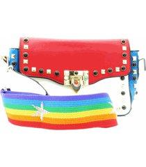 bolsa paul ryan colorida em couro com sparks e alã§a longa - bolsa201 - multicolorido - feminino - dafiti