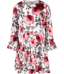 blumarine white dress for baby girl with red roses