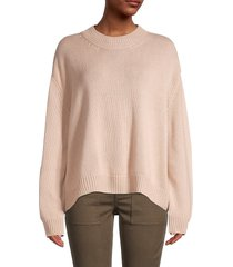 mansur gavriel women's oversized cropped cashmere sweater - burgundy - size l