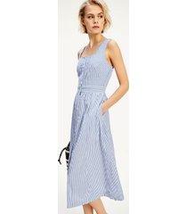tommy hilfiger women's sleeveless stripe midi dress blue stripe - 2