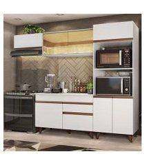 cozinha completa madesa reims xa260001 com armário e balcão branco branco