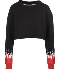vision of super woman red double flames black cropped sweatshirt
