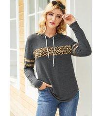 yoins punto gris con cordón de leopardo con parche capucha