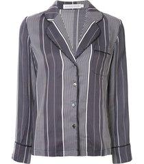 goodious striped long-sleeve pajama set - blue