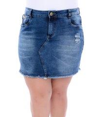 mini saia jeans legítima defesa plus size de barrinha desfiada azul