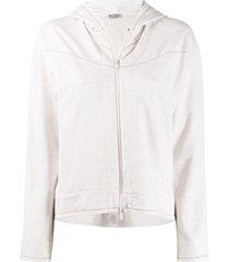 brunello cucinelli brass-embellished zip-up hoodie - neutrals