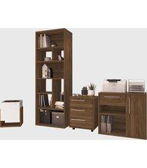 conjunto para escritório 02 livreiro/balcão multiuso/gaveteiro/cachepô madeirado modern office e estilare móveis