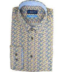 bos bright blue overhemd katoen regular fit 20307wa53bo/500 multicolour