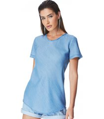t-shirt jeans zait manga curta marisa azul marinho - azul marinho - feminino - dafiti