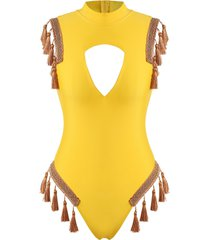tassel tape trim cutout high neck one-piece swimsuit