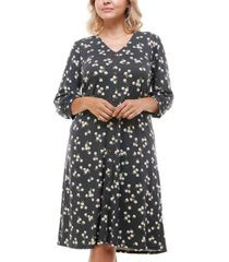 monteau trendy plus size floral-print button-front dress