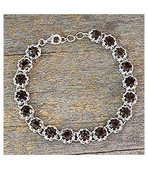 smoky quartz tennis bracelet, 'dusky enchantment' (india)
