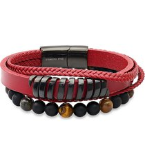 anthony jacobs men's 2-piece stainless steel, leather & beaded bracelet set
