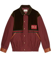 gucci panelled striped jacket - red