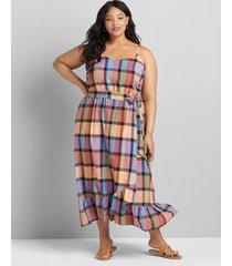 lane bryant women's sleeveless cami plaid midi dress 22p multi plaid