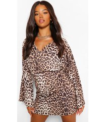 leopard print v neck mini dress, brown